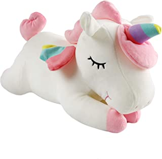 Athoinsu Fairy Stuffed Unicorn Soft Plush Toy with Rainbow Horn Wings Birthday Christmas for Girls Toddlers, White, 16''