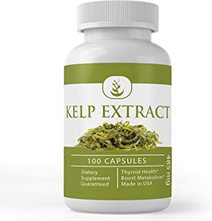 Kelp Extract (100 Capsules, 485 mg Serving) Superfood, Energy Booster, Thyroid Health, Weight Loss Aid* by Pure Organic Ingredients*