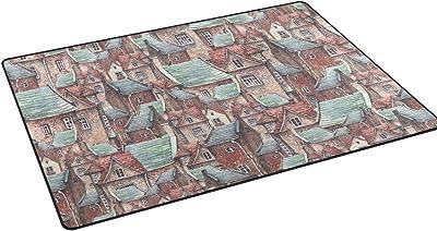 "Mydaily Fairytale Town Brick Houses Area Rug 3'3"" x 5', Living Room Bedroom Kitchen Decorative Lightweight Foam Nursery Rug Floor Mat"