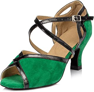 URVIP Women's Flannelette Heels Ballroom Pumps Modern Latin Tango Shoes Cross Ankle Strap Buckle Dance Shoes LD007