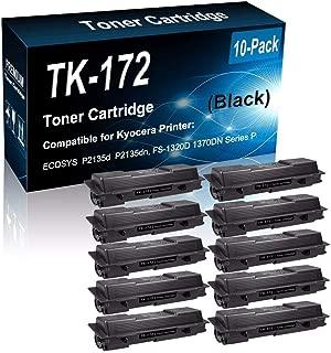 10-Pack (Black) Compatible ECOSYS P2135d P2135dn, FS-1320D 1370DN Printer Toner Cartridge (High Capacity) Replacement for Kyocera TK-172 Laser Printer Toner Cartridge