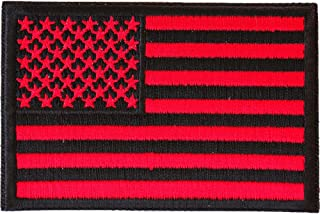 Red Black American Flag Patch - 3x2 inch. Embroidered Iron on Patch