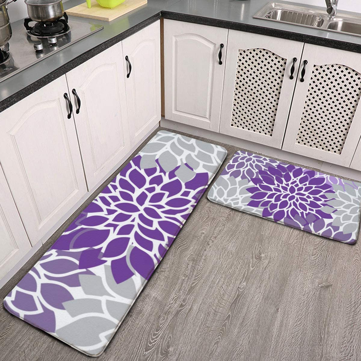 MGVDSES 2 Pcs Kitchen Rug Classic Set Modern Floral and Gray 2021 model Purple Non