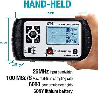 ALLOSUN Oscilloscope Handheld Scope Digital Storage Meter and Digital Multimeter DMM 25MHz Single Channel, Model:EM125