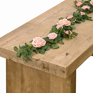 Ling's moment Handcrafted 5ft Full Blush Pink Rose Flower Runner Garland for Wedding Table Centerpiece Arch Canopy Decoration