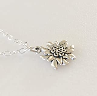 Edelweiss Flower Necklace, Sterling Silver Edelweiss Charm, Wildflower Necklace, Austrian Mountain Edelweiss Flower, Flower Of The Alps, Sterling Silver.