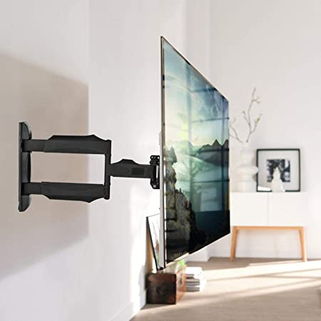 Adjustable Full Motion TV Wall Mount,Heavy-Duty TV Mount TV Bracket for Most 32-55 Inch Flat Curved TVs,Tilt Swivel Dual Articulating Arms,Extension,Leveling,Max VESA 400x400