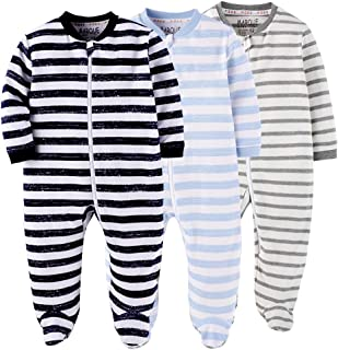 MAMIMAKA Baby Rompers Pajamas Cotton Jumpsuit Boys Girls Sleepsuit Long Sleeve Footed Bodysuits One-Piece Outfits