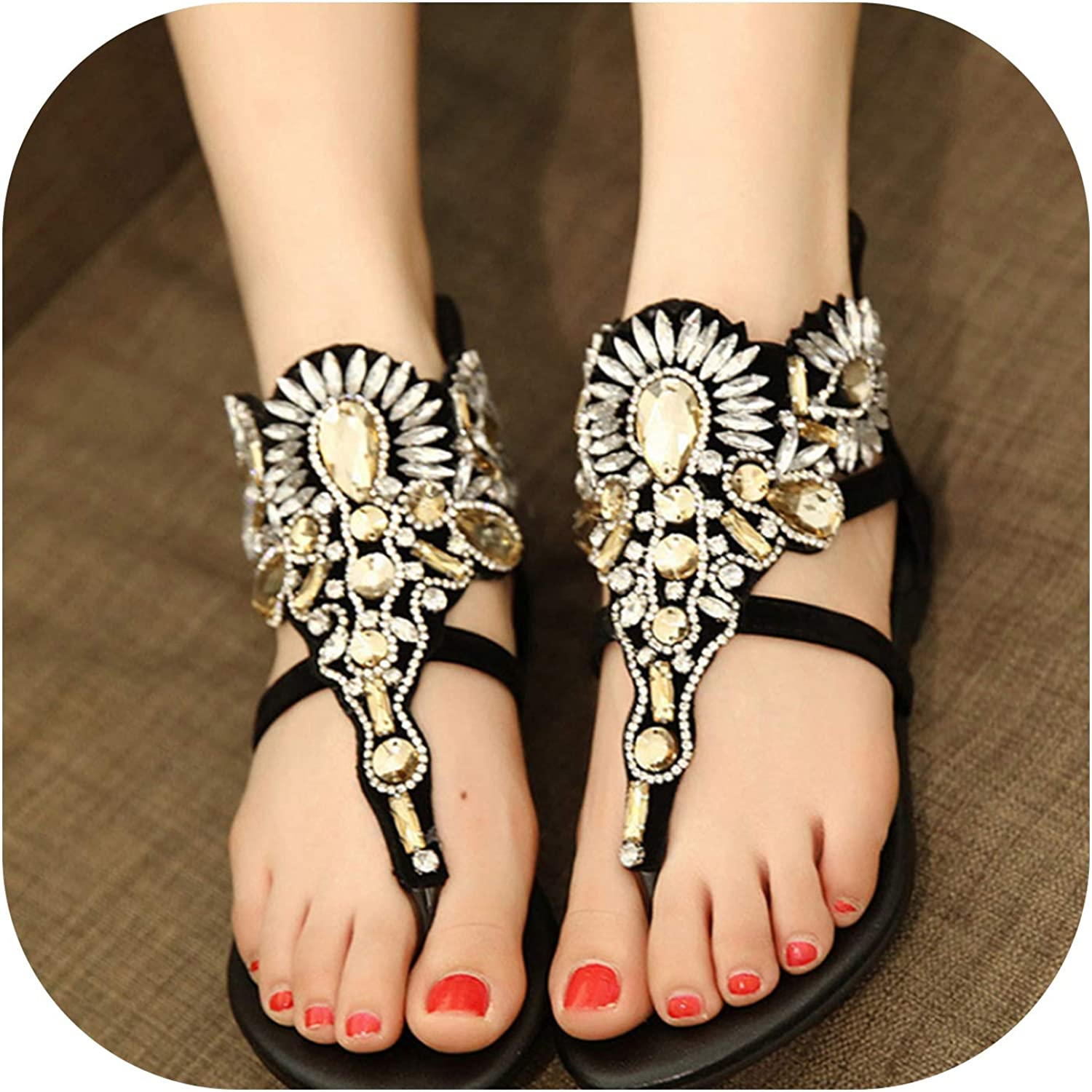 Heat-Tracing Women Crystal Gladiator Sandals Summer Flip Flops Casual shoes Women Slip On Rhinestone shoes