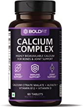 Boldfit Calcium Complex Supplement 1000mg With Alfalfa For Women And Men. Calcium Citrate Malate With Vitamin D2 And B12. Ideal For Immunity, Bone And Joint Support. (60 Vegetarian Tablets)