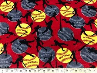 Red Softball Fleece 2 Yard Piece