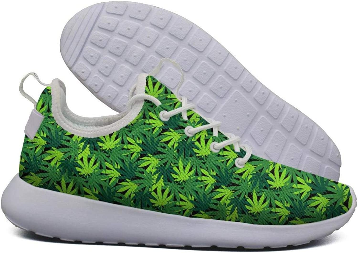 Hoohle Sports Womens Cannabis Plant Green Poster Flex Mesh Roshe 2 Lightweight Beautiful Fashion Sneakers shoes