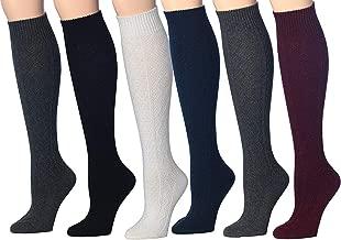 Tipi Toe Women's 6 Pairs Ragg Marled Ribbed Mid-Calf High Wool-Blend Boot Socks