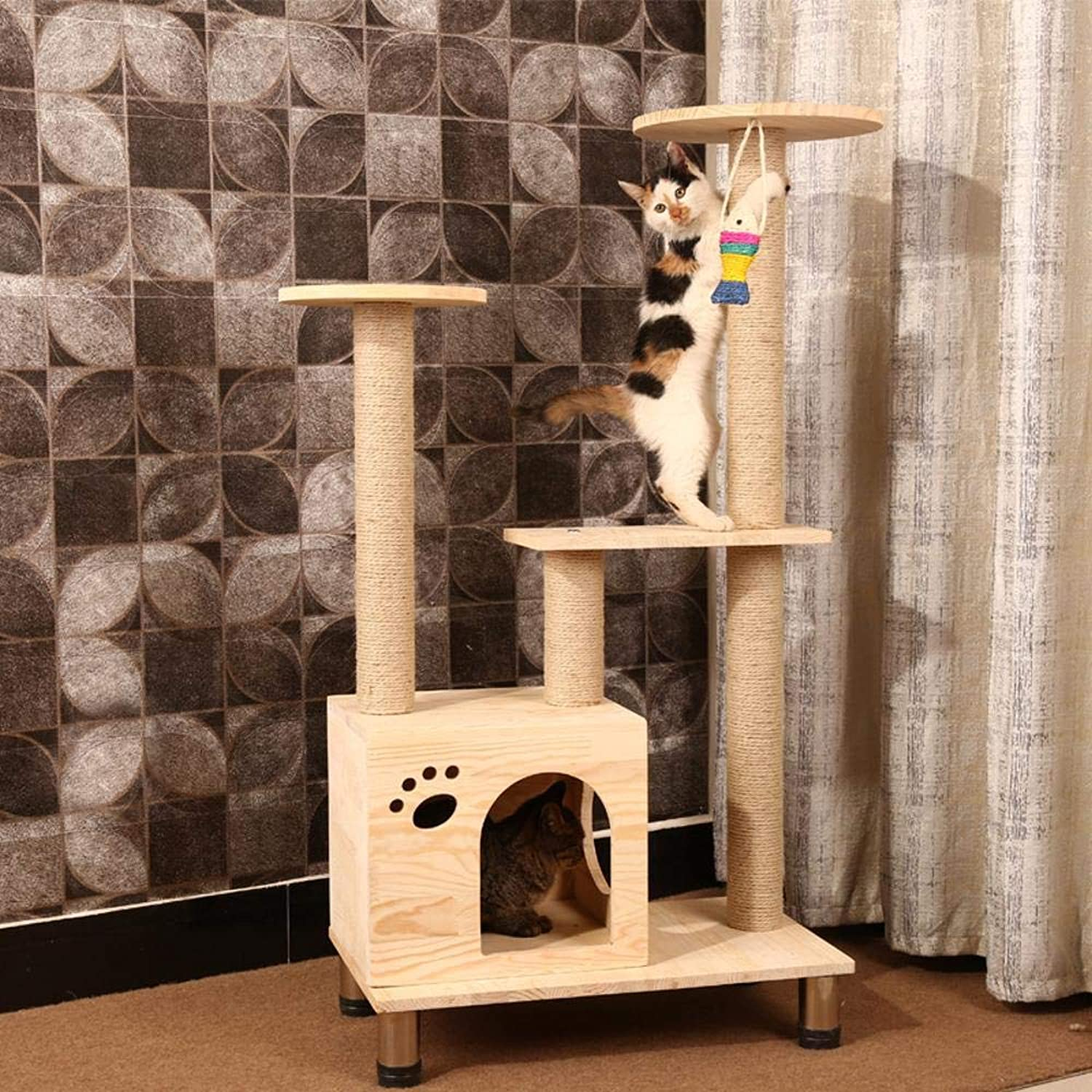 Axiba Play Towers Trees for Cats Solid wood Cat Climbing frame sisal cat litter cat rack cat catch plate cat jumping platform for game sleep