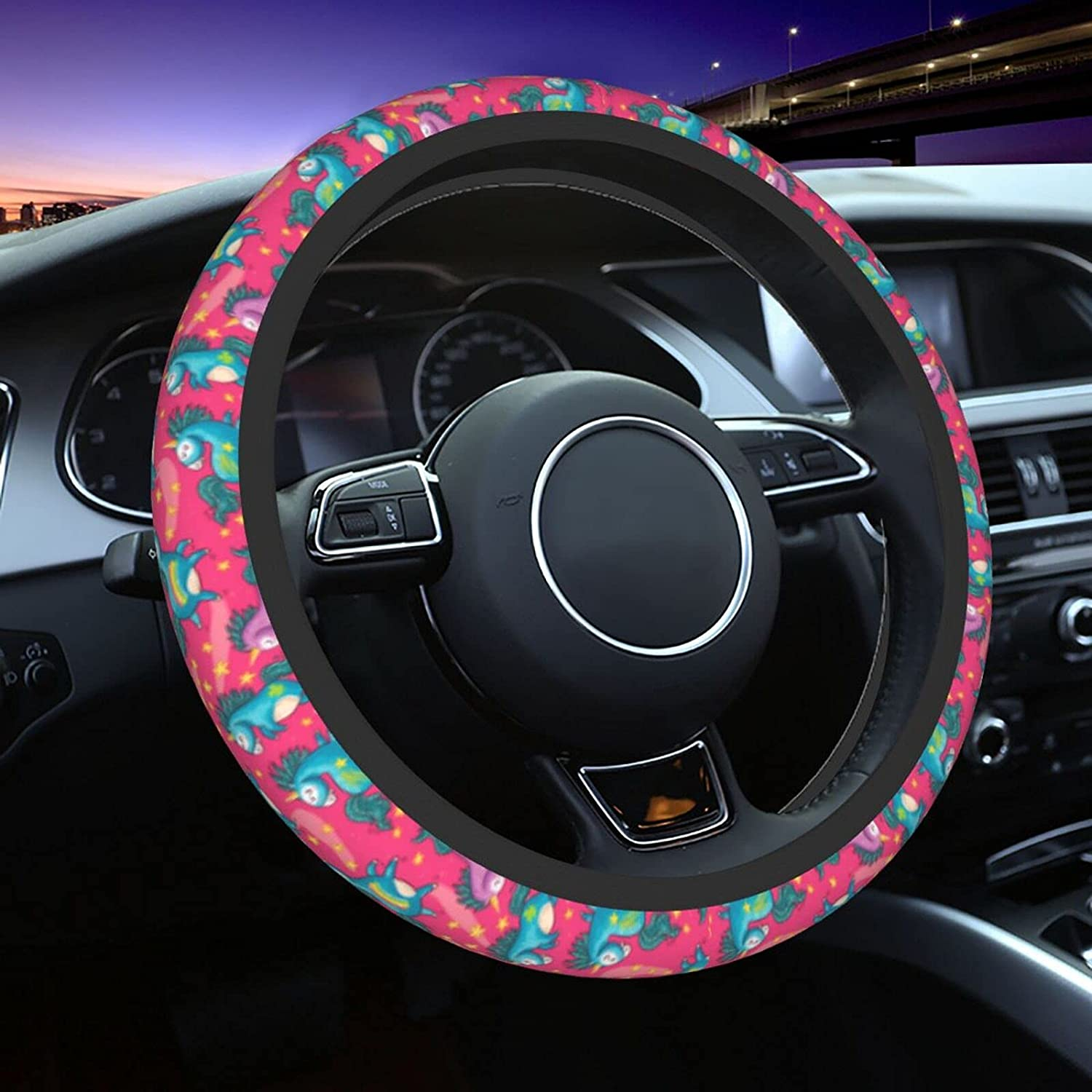 Cute Unicorns Pink Car supreme Steering Wheel Fit 15 Denver Mall Cover In Universal
