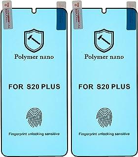 شاشة حماية لاصقة منحنية زجاج مقوى نانو بوليمر مقاومة للصدمات لموبايل سامسونج جالاكسي S20 بلس، 6.7 بوصة، قطعتين - اسود