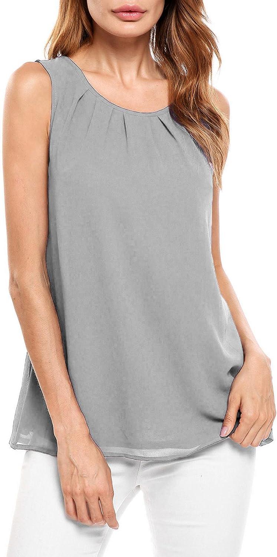 Beyove Women's Sleeveless Chiffon Tank Top Double Layers Keyhole Back Blouse Tunic S-XXL