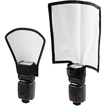 waka Flash Diffuser Reflector Kit - Bend Bounce Flash Diffuser+ Silver/White Reflector for Speedlight, Universal Mount for Canon, Nikon, etc.
