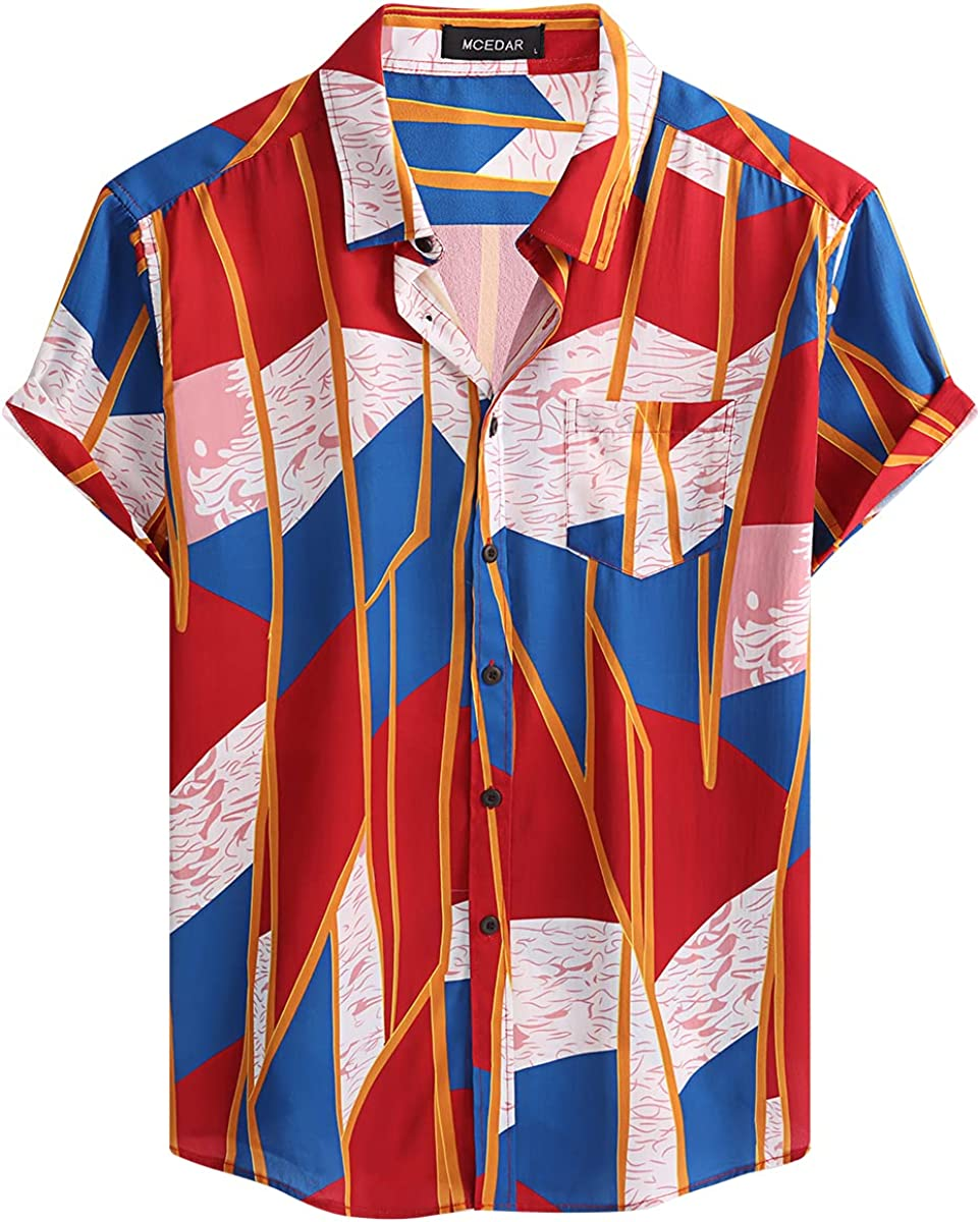 80s Men's Clothing   Shirts, Jeans, Jackets for Guys MCEDAR Mens Casual Short Sleeve Button Up Vintage Summer Hawaiian Beach Vacation Shirts (Size S-5XL Big and Tall)  AT vintagedancer.com