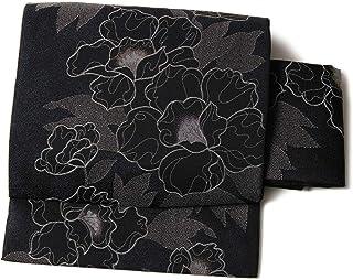 [でぃあじゃぱん]軽装帯 牡丹 黒 グレー ふじ 花 植物 レトロ シック お太鼓 作り帯 仕立て上がり 付帯 文化帯 付け帯 二部式