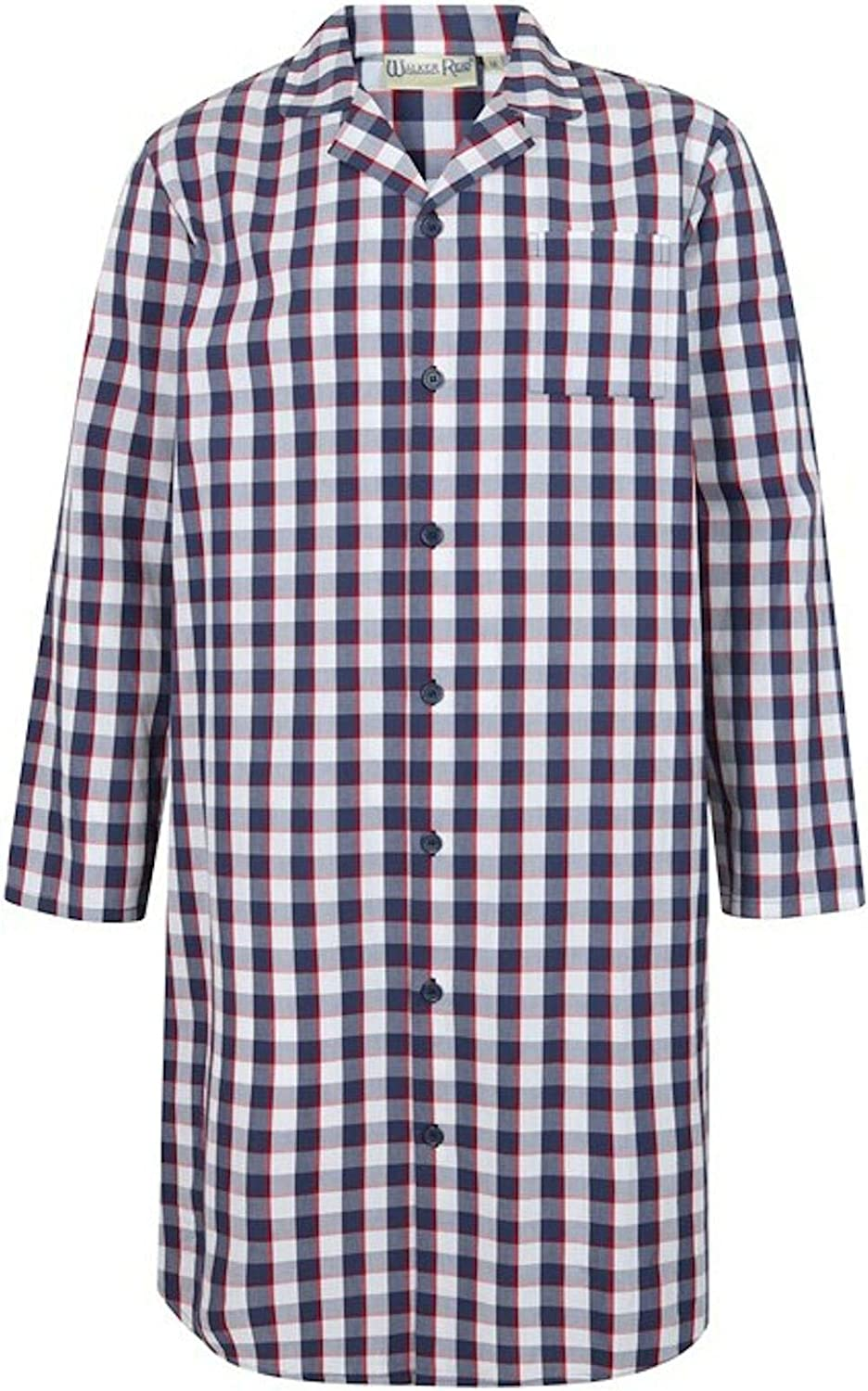 Walker Reid Mens Navy//Red Classic Check 100/% Cotton Long Sleeve Nightshirt Medium-3XL