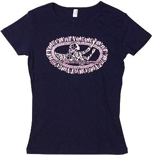 (ムームーママ) MuuMuuMama 半袖 フライス Tシャツ ホワイトジンジャー柄 ネイビーボディ 白プリント