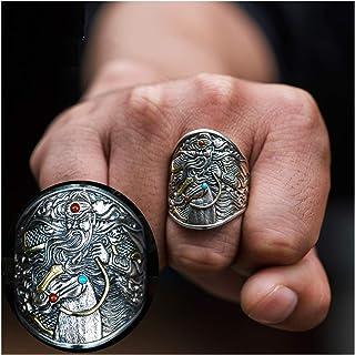 خاتم رجالي على الطراز الصيني خاتم قاطرة للرجال والنساء، مقاس قابل للتعديل S925 من الفضة الاسترلينية أفضل خيار للهدايا