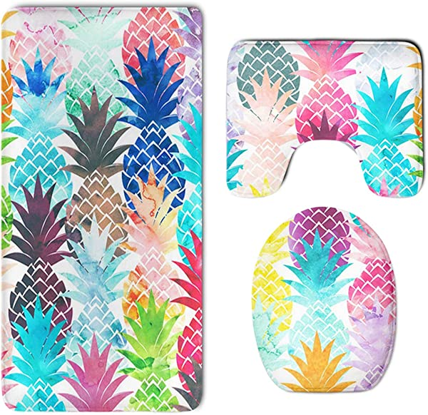 HOMESTORES Hawaiian Tropical Pineapple Bathroom 3 Piece Mat Sets Pedestal Mat Lid Toilet Cover Bath Mat Doormat Non Slip Rug