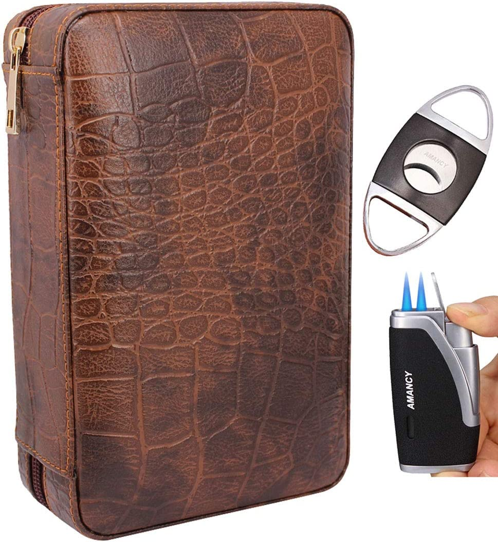 AMANCY Manly Black Brown Max 61% OFF Crocodile Now free shipping Leather Pattern Cedar Travel
