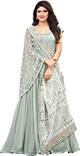 Karva Fashion Women's Georgette Long GREY SEMI-STICHED Gown