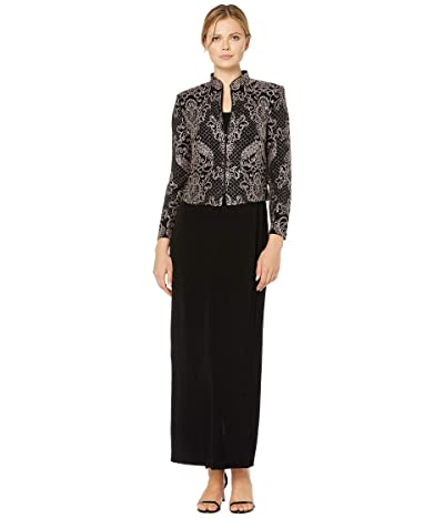 Alex Evenings Long Jacket Dress with Mandarin Collar Zip Jacket (Black/Taupe) Women