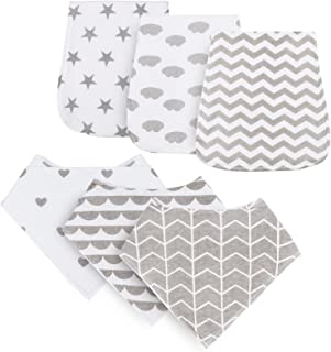 Burp Cloths for Baby Boys and Girls, 6 Pack Pure Cotton Baby Burp Set, Triple Layer Absorbent & Soft Burping Rags for Newb...