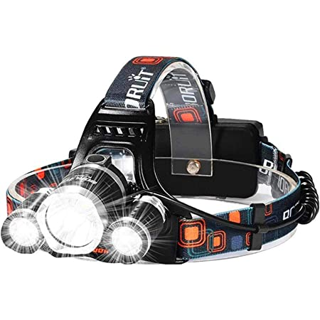 [Upgraded] Brightest LED Headlamp 30000 Lumen IMPROVED Cree Led,4 Modes Headlight Battery Powered Helmet Light for Camping Running Hiking(Charging equipment and Batteries) Included