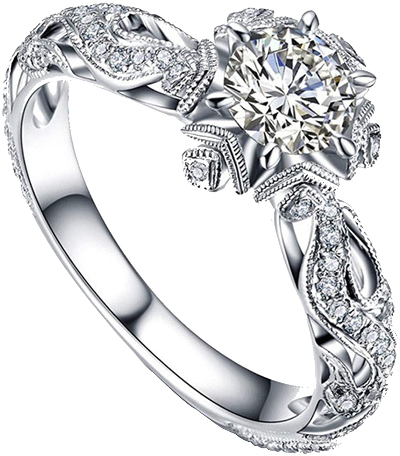 Rings for Women Rose Max 82% OFF Gold Cut Sterling Price reduction Si Round Engagement