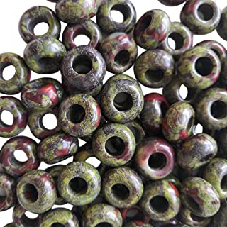 Loveliome 20 Pcs Large Hole Loose Stone European Beads for Charms Bracelet Jewelry Makings DIY, Green-Dragon Bloodstone, 1...