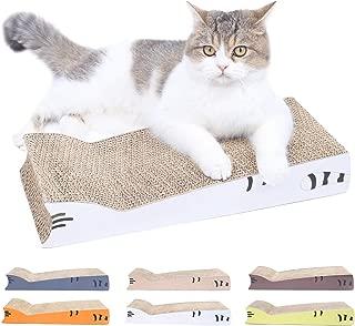 AMZNOVA Cat Scratcher Cardboard, Double Thickness Scratching Pad, Cat Shaped Corrugated Scratch Lounge with Catnip