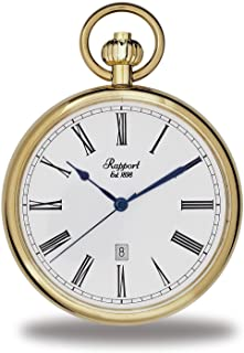 Vintage Pocket Watch with Chain by Rapport - Classic Oxford Open Face Pocket Watch with Date - Gold