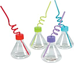 Science Party Beaker Cups (8 cups with straws) Laboratory Party Supplies