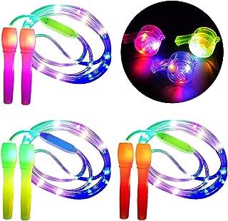 Fitness zuf/ällige Farbe im Dunkeln leuchten Springseil LED-Leuchten Fitness Springseil f/ür Kinder Erwachsene Lichtshow Suszian Leuchtende Springseil Kinder