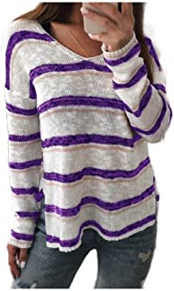 Howely Women Knit Stripes Long Sleeve V Neck Sweaters Pullover Fall Shirts