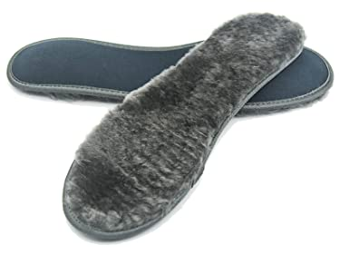 riemot Men's Sheepskin Insoles Wide, Extra Thick & Fluffy Shearling Inserts for Boots Wellies Slippers, Replacement Wool Fur Fleece Comfort Shoe Insole Grey 12 US