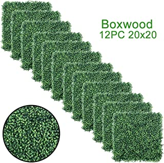 SunVilla Artificial Boxwood Panels Hedge, 12 Pieces 20 x 20 Inch, Fence Panels for Garden, Backyard, Wall Decor, Privacy Screen 20