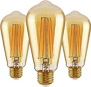 40w Equivalent 450 Lumens Amber Glass Dimmable 6 Pack 22K Warm White Sunlite 41078-SU Vintage Edison ST19 ST64 LED Filament Style Light Bulb 6 Watt