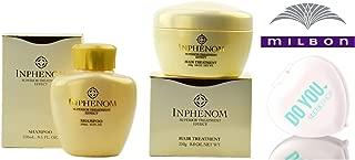 Inphenom SHAMPOO & Hair TREATMENT DUO Set, superior treatment effect by Milbon (with Sleek Compact Mirror) (8.5 oz + 8.8 oz - Retail DUO Kit)