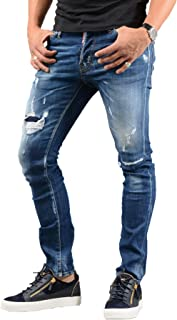 S74LB0418 Zip Back Pocket Ripped Cool Guy Jeans in Blue