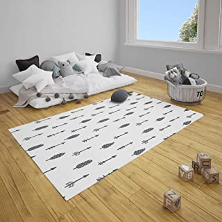 Thread Nebula Super Soft Quilted Baby Play Mat | Premium Black & White Trees, Arrows Design Infant Crawling Mat | Super Soft Large Toddler Play Rug 60 x 48Inch for Nursery & Playroom