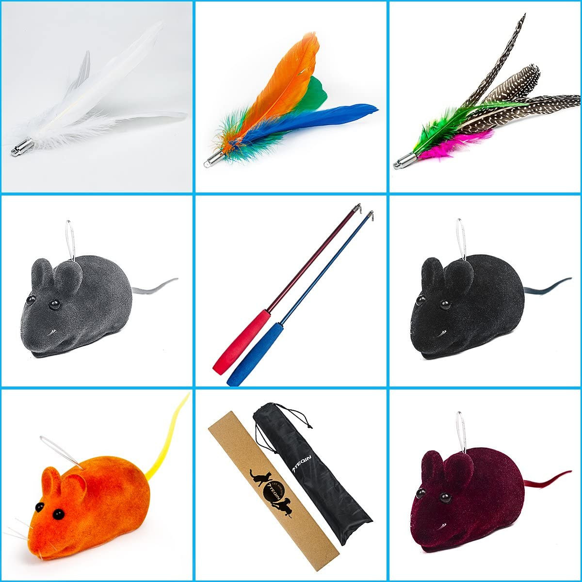 11in1 Cat Feather Teaser Toys with Ranking TOP7 Catnip Soldering Wand Poles Retractable