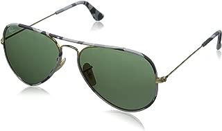 Ray-Ban RB3025JM Aviator Full Color Metal Sunglasses, Gold/Crystal Green, 55 mm