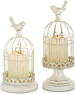 Romadedi Decorative Candle Holder Bird Cage - Set of 2 Candleholder Shabby Chic Country Rustic Home Decoration Wedding Table Centerpiece Mantel Decor, 10''/12''Tall, Distressed Ivory
