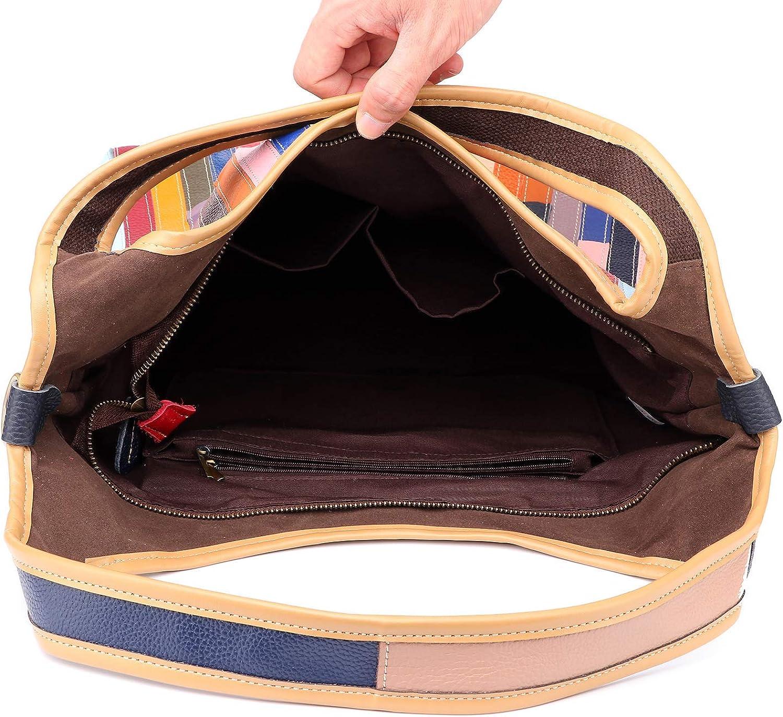 Eysee Patchwork en cuir véritable sac à main épaule Sac bandoulière sac Multicolore 1